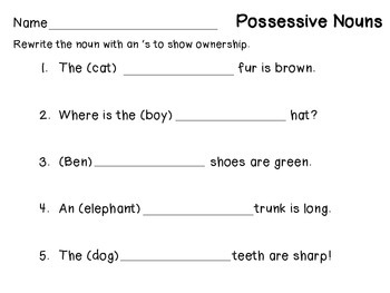 Possessive Nouns For First Grade