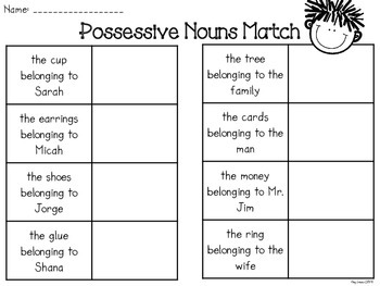 Possessive Nouns Freebie