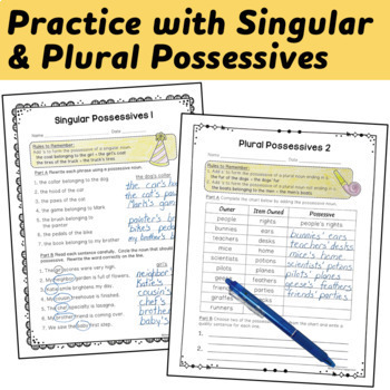 Possessive Nouns Interactive Notebook and Printable Activities
