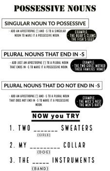 Possessive Nouns Journal Entry