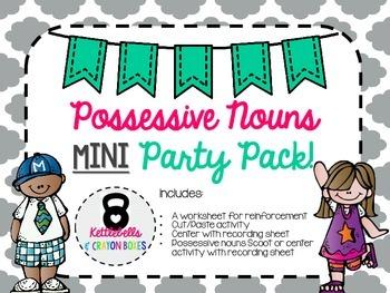 Possessive Nouns Mini Party Pack!