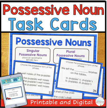 Possessive Nouns: Posters, Task Cards, Worksheet