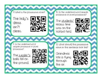 Possessive Nouns QR Code Task Cards