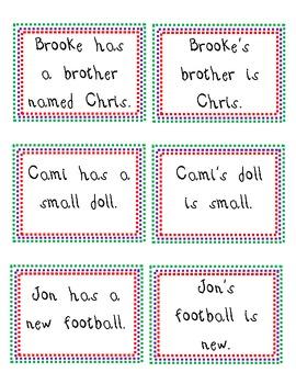 Possessive Nouns- Sentence Match up!