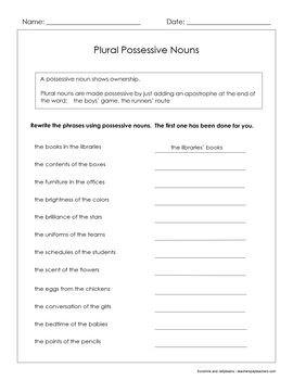 Possessive Nouns - Singular - Plural - Irregular - 4 Worksheets - CCSS