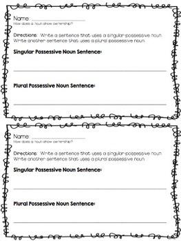 Possessive Nouns {Singular & Plural}  Lesson Plan & Materials!