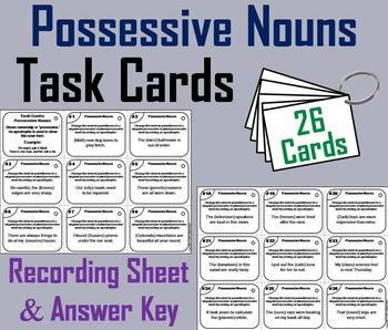 Possessive Nouns Task Cards 3rd 4th 5th Grade