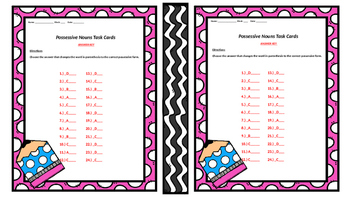 Possessive Nouns Task Cards with Early Finishers too