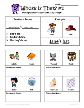 Possessive Nouns: Whose is it? 2nd-3rd Grade Common Core Practice Packet