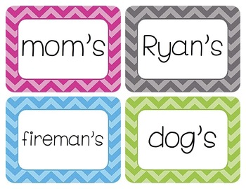 Possessive Nouns Word Wall Cards