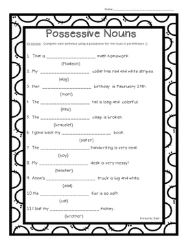 Possessive Nouns In Sentences Worksheet Works Com Answers ...