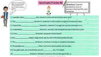 Possessive Nouns and Pronouns: Interactive Google Drive