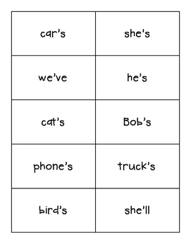 Possessive Nouns vs. Contractions Sorting Center and Recording Sheet