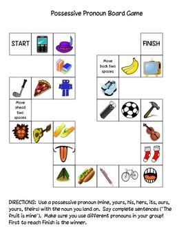 Possessive Pronoun Board Game