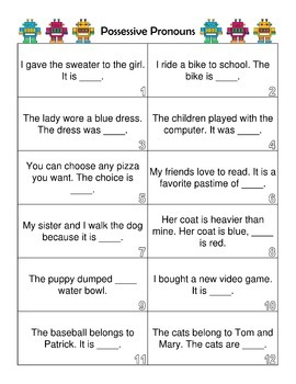 Possessive Pronoun Activity and Bonus Task Cards