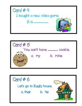 Possessive Pronoun Task Cards