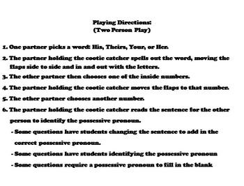 Possessive Pronouns Activity 2nd 3rd Grade (Grammar Games)