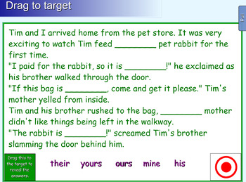 Interactive Possessive Pronouns Activity for IWB