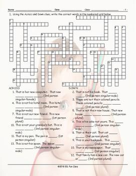 Possessive Pronouns Crossword Puzzle