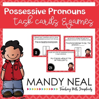 Possessive Pronouns Grammar Task Cards, Games, and Centers