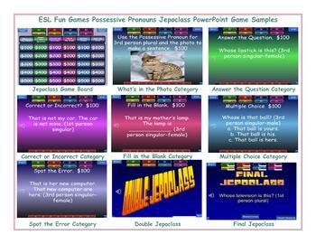 Possessive Pronouns Jeopardy PowerPoint Game Slideshow