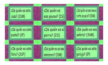 Possessive Pronouns Spanish Card Game