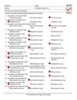 Possessive Pronouns Spanish Multiple Choice Exam