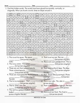 Possessive Pronouns Word Search Worksheet