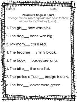 Possessive Singular Nouns Worksheet