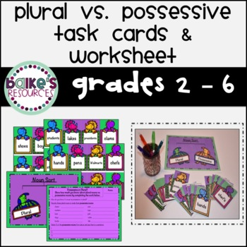 Possessive VS Plural Task Cards & Worksheet