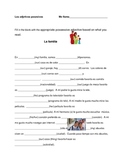 Possessive adjectives in Spanish activity. Adjetivos posesivos espanol