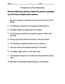 Possessive and Plural Nouns Quiz