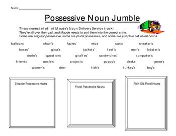 Possessive and plural nouns puzzle worksheet (classify nouns)