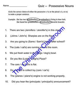 Possessive nouns quiz