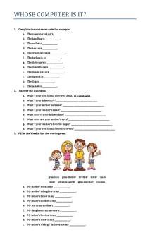 Possessive 's worksheet and pairwork activity