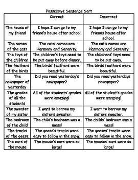 Possessive vs. Plural Sentence Sort