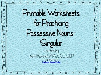 Possessives Practice Worksheets- Singular Nouns