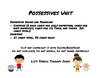 Possessives Speech Therapy Unit