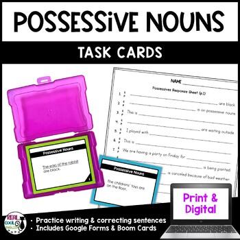 Possessive Nouns Task Cards (PLUS digital Boom Cards version!)