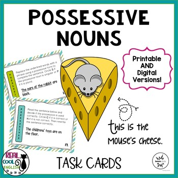 Possessive Nouns Task Cards (PLUS digital Boom Cards version!)