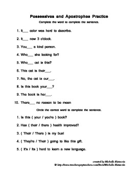 Possessives and Apostrophes Practice