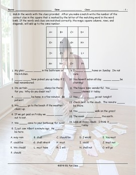 Possibility Modals Magic Square Worksheet