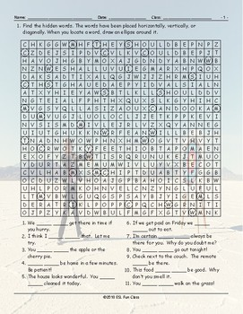 Possibility Modals Word Search Worksheet