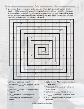 Possibility Modals Word Spiral Spanish Worksheet
