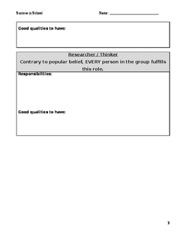 Possible Roles in Groups Worksheets and Charts