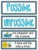 Probability Math Center: Possible or Impossible Sentence Sort Probability Game
