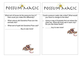 Possum magic question card