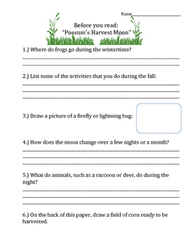 Possum's Harvest Moon - Vocabulary, Comprehension, Test Prep