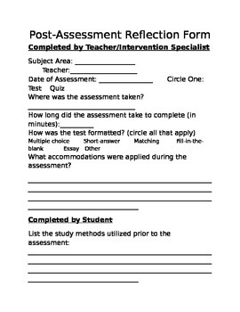 Post-Assessment Reflection Form