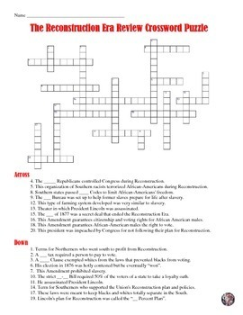 post civil war and reconstruction era crossword puzzle review tpt. Black Bedroom Furniture Sets. Home Design Ideas